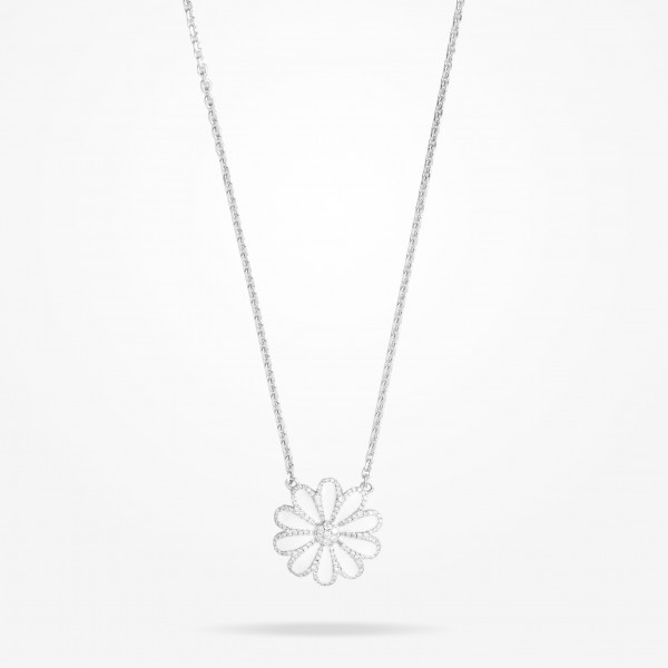 MARVVA - 28.5mm Daisy Elegance Pendent, Diamond, White Gold 18K