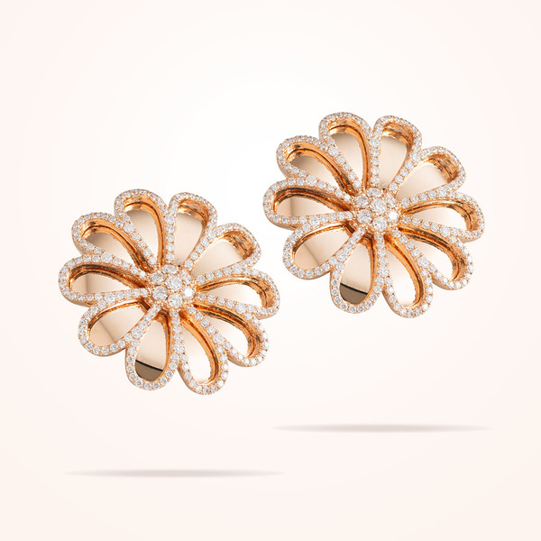 MARVVA - 28.5mm Daisy Reflection Earrings, Diamond, Rose Gold 18K