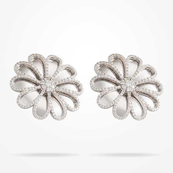 MARVVA - 28.5mm Daisy Reflection Earrings, Diamond, White Gold 18K