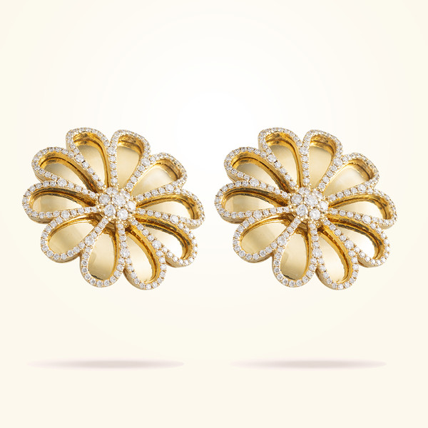 MARVVA - 28.5mm Daisy Reflection Earrings, Diamond, Yellow Gold 18K