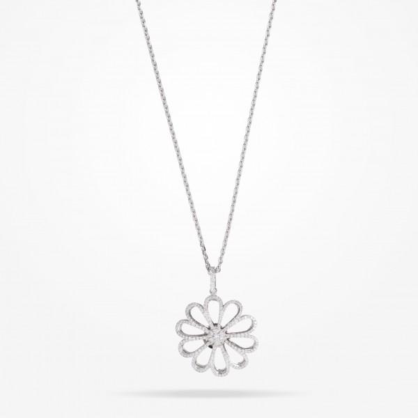 MARVVA - 28.5mm Daisy Reflection Pendent, Diamond, White Gold 18K
