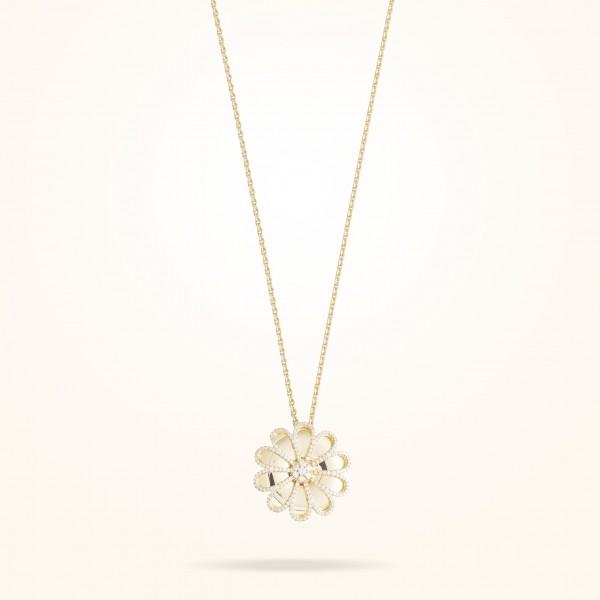 MARVVA - 28.5mm Daisy Reflection Pendent, Diamond, Yellow Gold 18K