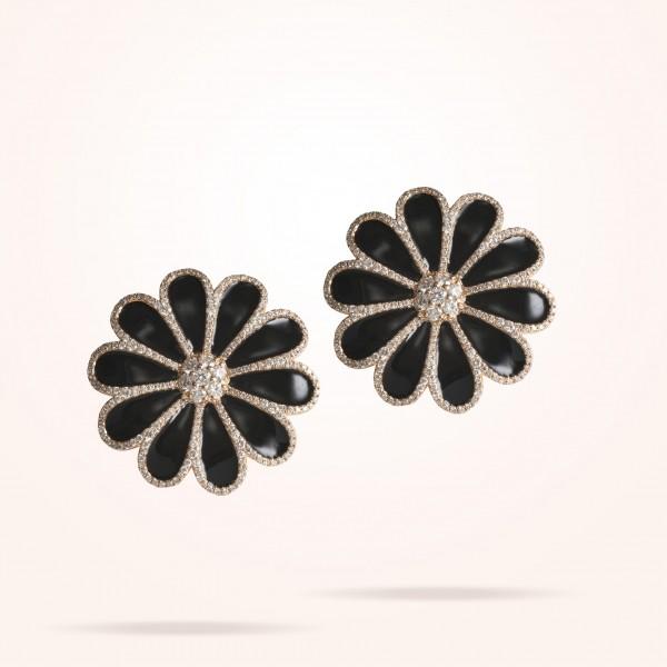 MARVVA - 28.5mm Daisy Elegance Earrings, Diamond, Rose Gold 18K
