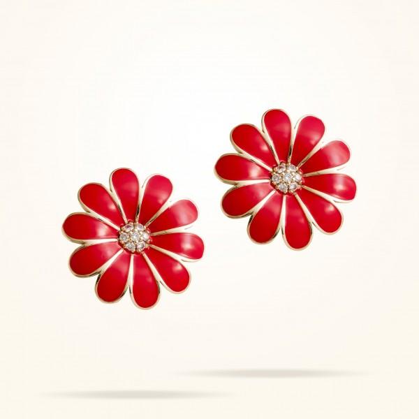 MARVVA - 27mm Daisy Classic Earrings, Diamond, Rose Gold 18K