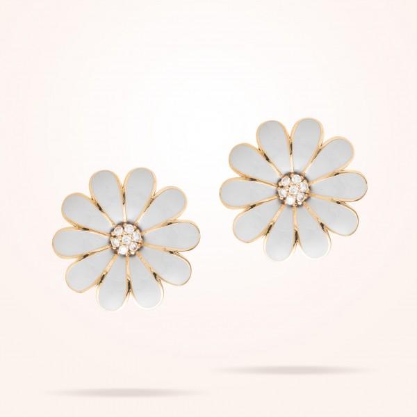 MARVVA - 27mm Daisy Classic Earrings, Diamond, Rose Gold
