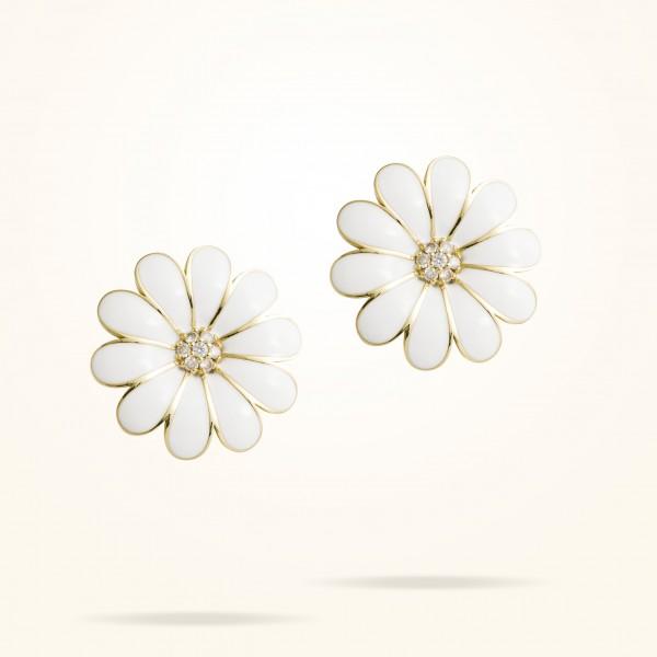 MARVVA - 27mm Daisy Classic Earrings, Diamond, Yellow Gold 18K