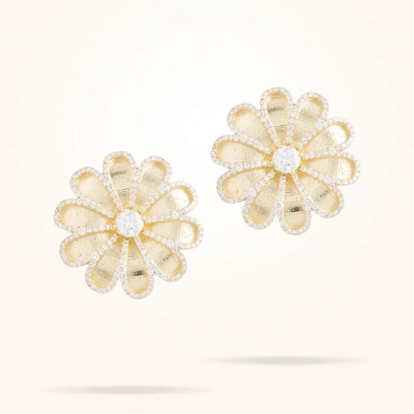 MARVVA - 28.5mm Daisy Premier Earrings with One Stone Center Diamond, Diamond, Yellow Gold 18K