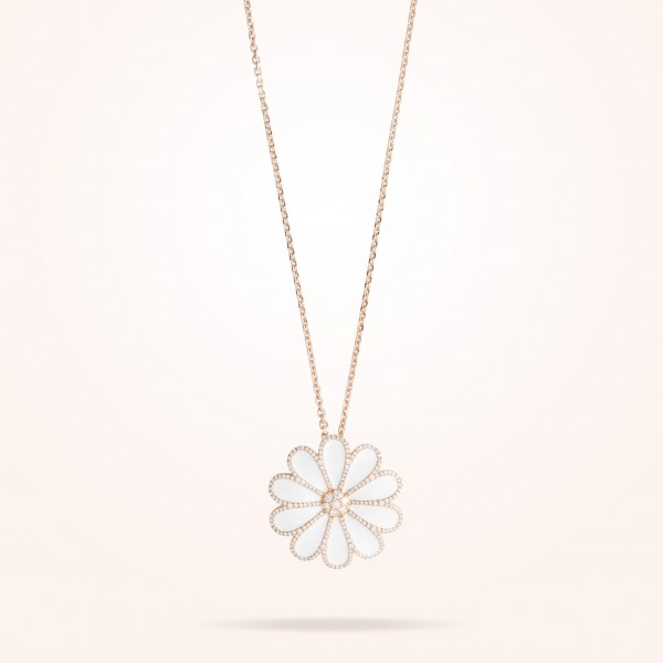 MARVVA - 34mm Daisy Elegance Pendent, Diamond, Rose Gold 18K