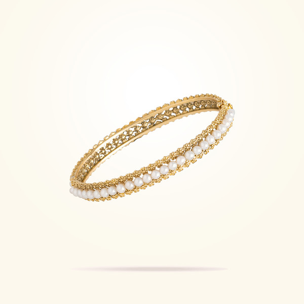 MARVVA - 4.4mm Daisy Bouquet Bangle, Pearls, Yellow Gold 18K