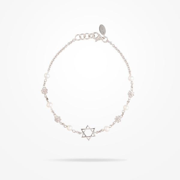 MARVVA - 4.4mm Daisy Spiritual Bracelet, Pearl, White Gold 18K