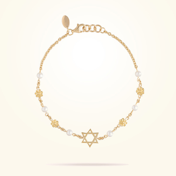 MARVVA - 4.4mm Diasy Sipiritual Bracelet, Pearl, Yellow Gold 18K
