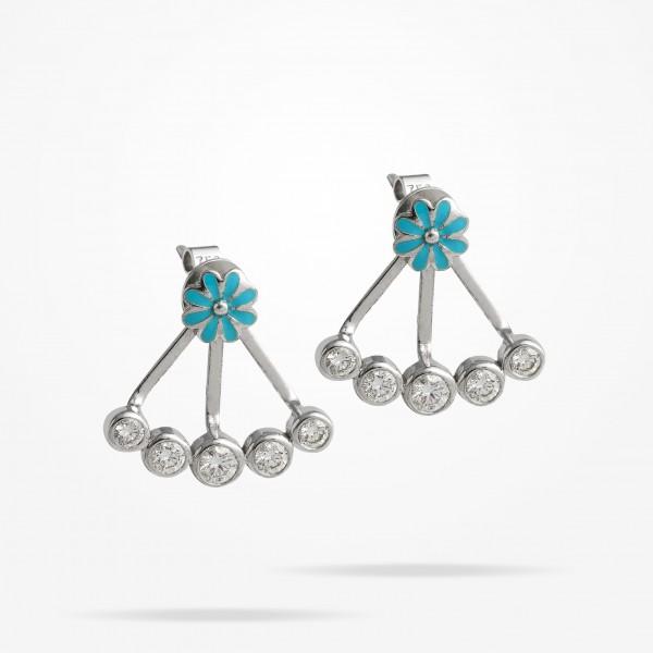 MARVVA - 6mm Daisy Bouquet Earrings, Diamond, White Gold 18K