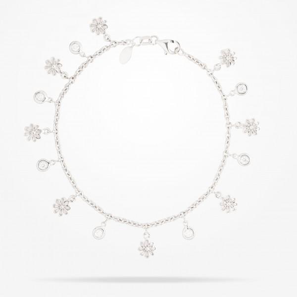 MARVVA - 6mm Daisy Bouquet Bracelet, Diamond, White Gold 18K