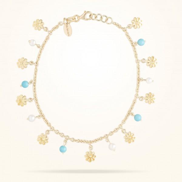 MARVVA - 6mm Daisy Bouquet Bracelet Pearls Feyrouz Yellow Gold 18K