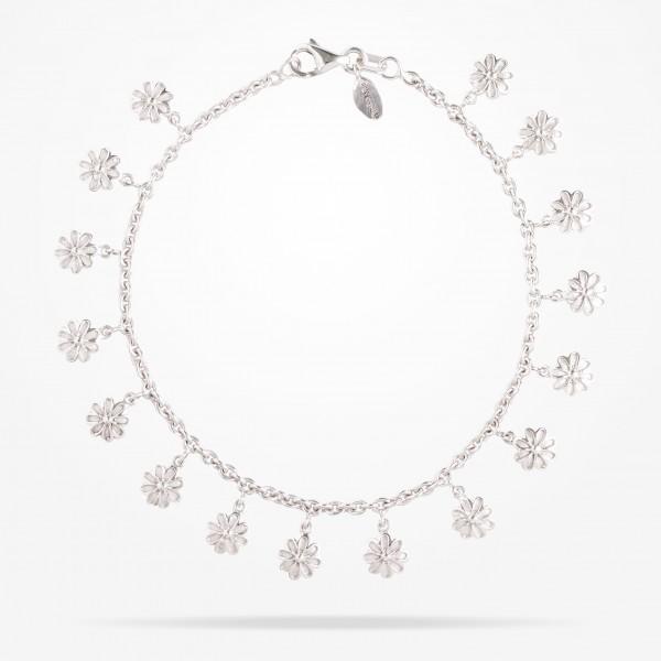 MARVVA - 6mm Daisy Bouquet Bracelet , White Gold 18K