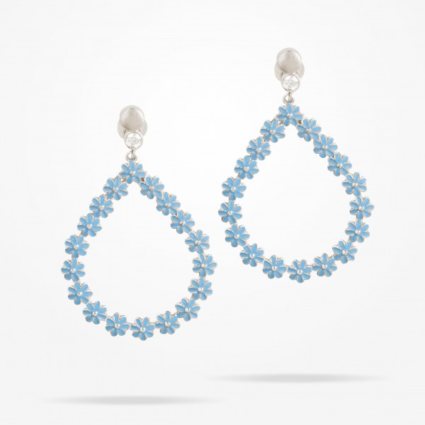 MARVVA - 4.4mm Daisy Bouquet Earrings, Diamond, White Gold 18K