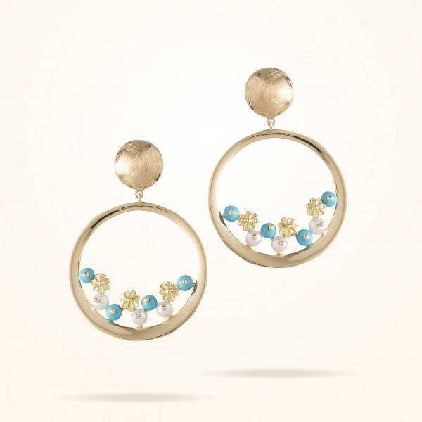 MARVVA - 4.4mm Daisy Bouquet Earrings, Pearls, Fayrouz , Yellow Gold 18K