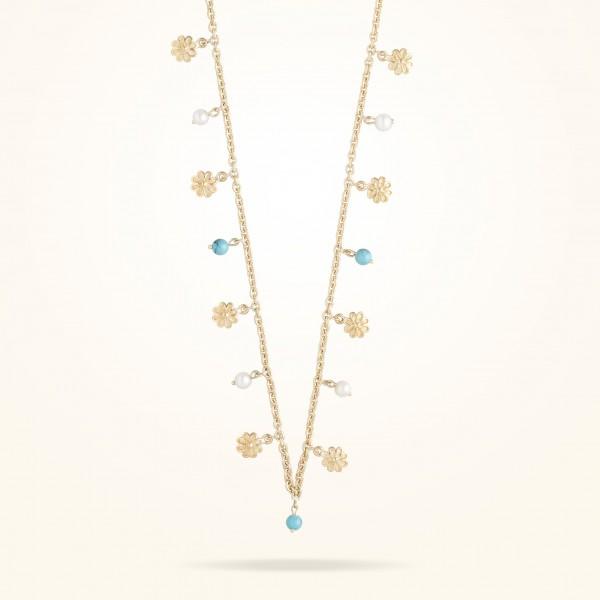 MARVVA - 6mm Daisy Bouquet Necklace Pearls Fayrouz Yellow Gold 18K