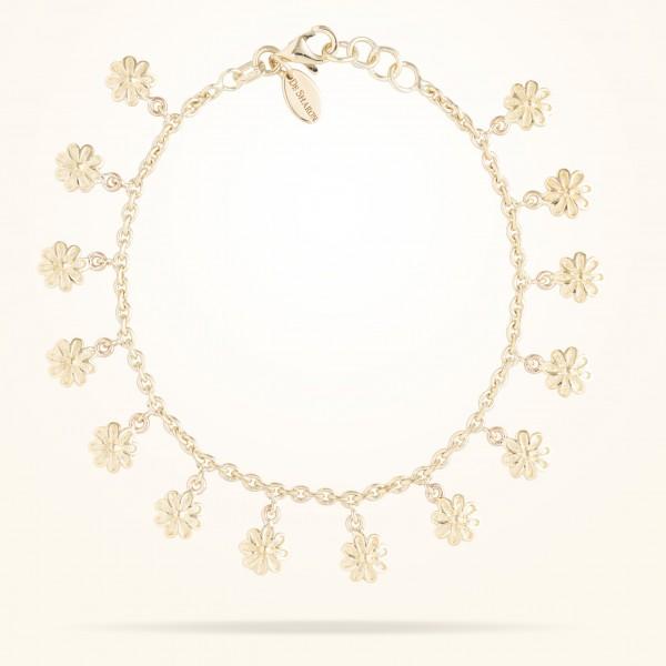 MARVVA - 6mm Daisy Junior Bouquet Bracelet, Yellow Gold 18K
