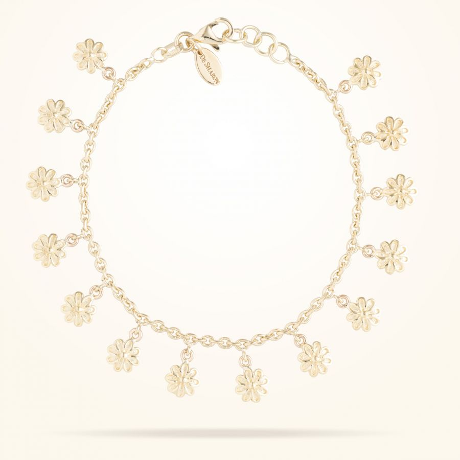 6mm Daisy Junior Bouquet Bracelet, Yellow Gold 18K