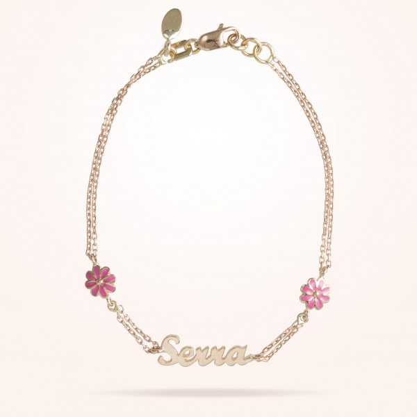 MARVVA - 6mm Daisy Junior Personalised Bracelet, Rose Gold 18K