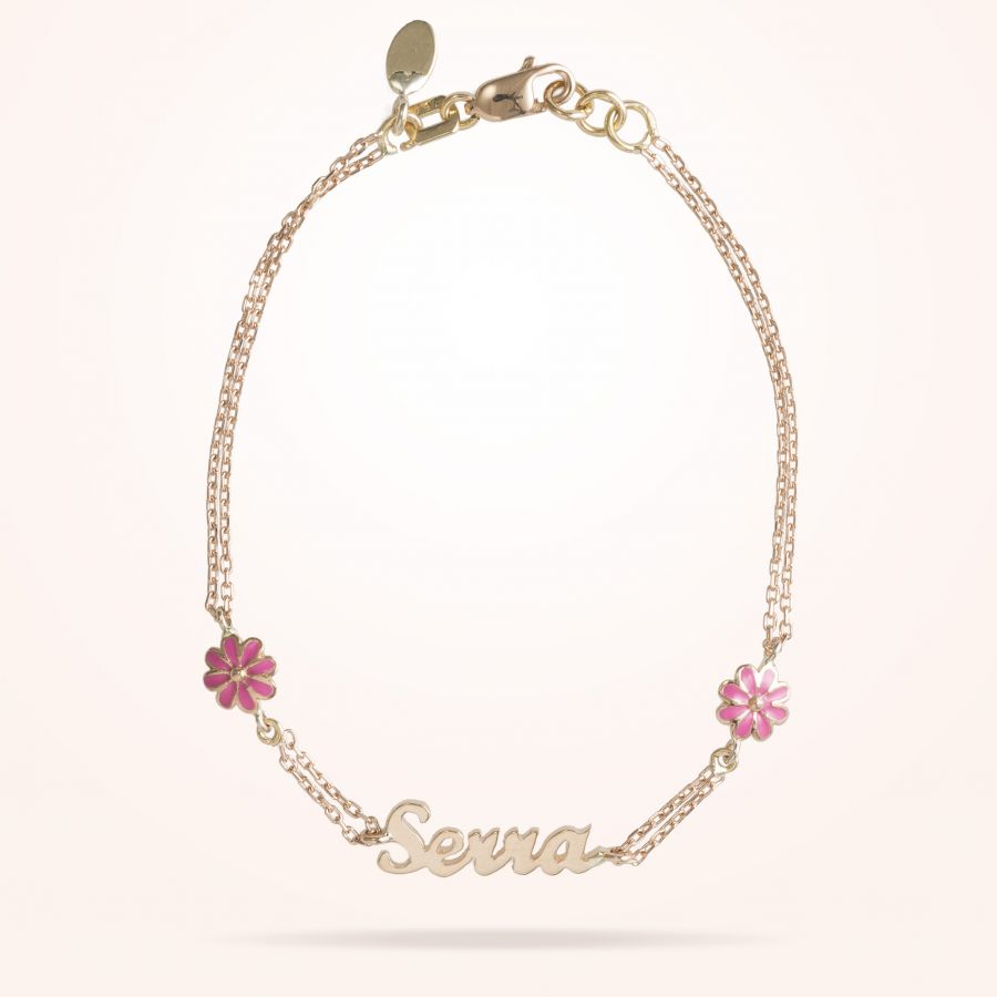 6mm Daisy Junior Personalised Bracelet, Rose Gold 18K