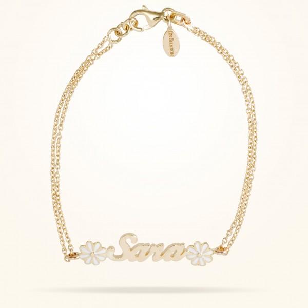 MARVVA - 6mm Daisy Junior Personalised Bracelet, Yellow Gold 18K
