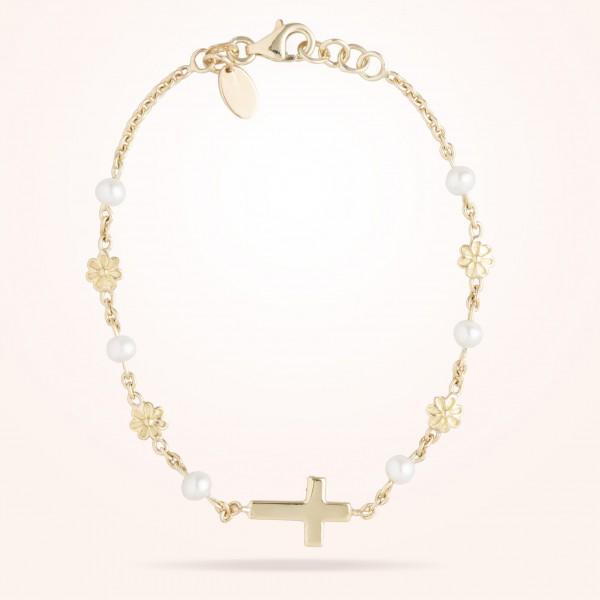 MARVVA - 6mm Daisy Junior Cross Bracelet, Pearls, Yellow Gold 18K