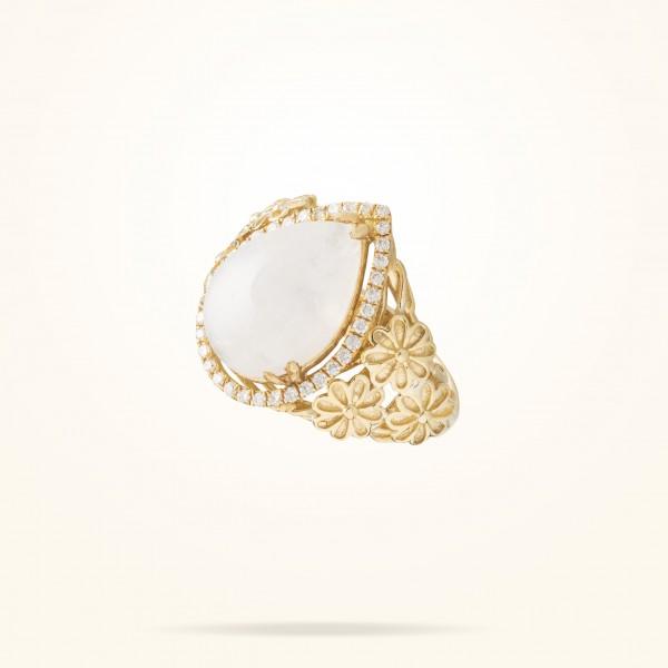MARVVA - 6mm Daisy Sofia Moonstone Ring, Diamond, Yellow Gold 18K