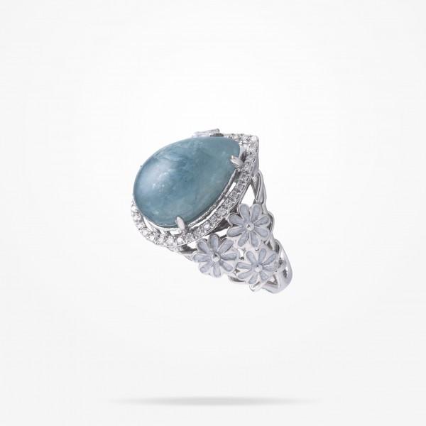 MARVVA - 6mm Daisy Sofia Topaz Ring, Diamond, White Gold 18K