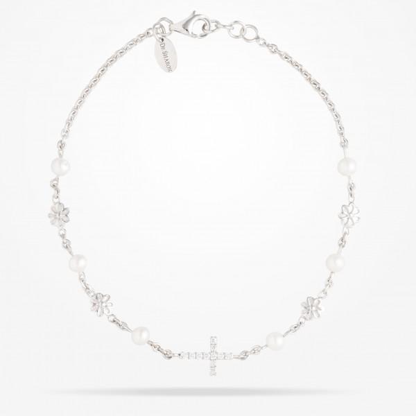 MARVVA - 6mm Daisy Spritual Cross Bracelet, Pearl, Diamond, White Gold 18K